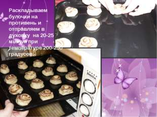 Раскладываем булочки на противень и отправляем в духовку на 20-25 минут при