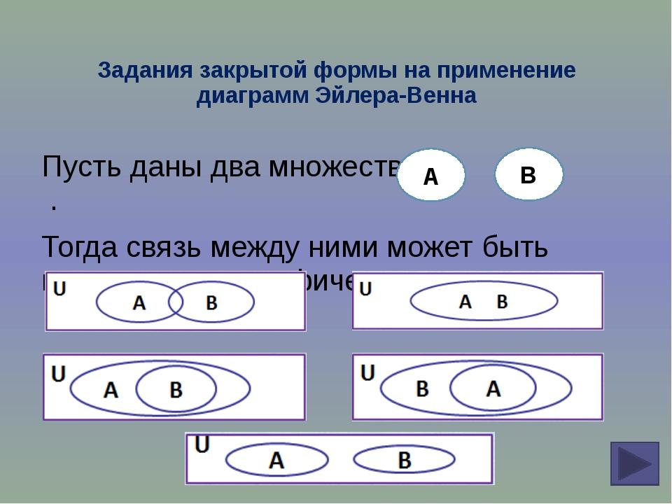 Задания закрытой формы на применение диаграмм Эйлера-Венна Пусть даны два мно...
