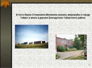В честь Ивана Степановича Мясникова названы микрорайон в городе Тайшет и школ