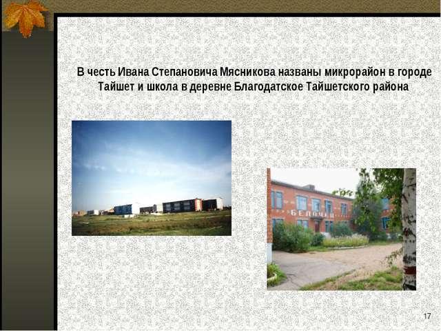 В честь Ивана Степановича Мясникова названы микрорайон в городе Тайшет и школ...