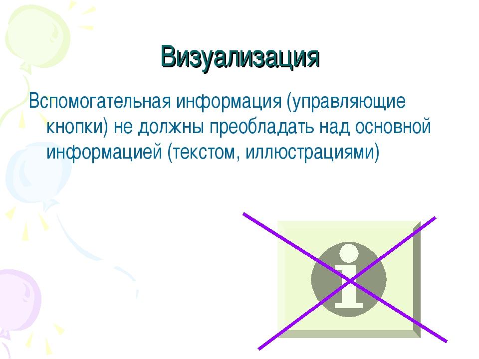 Визуализация Вспомогательная информация (управляющие кнопки) не должны преобл...
