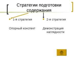 Стратегии подготовки содержания 1-я стратегия Опорный конспект 2-я стратегия