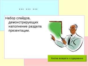 … … … Набор слайдов, демонстрирующих наполнение раздела презентации.