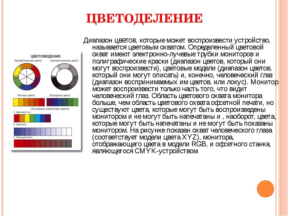 ЦВЕТОДЕЛЕНИЕ Диапазон цветов, которые может воспроизвести устройство, называе...