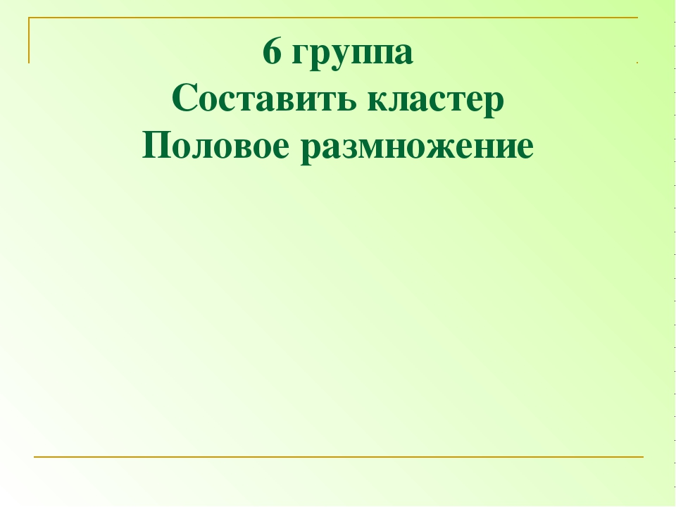 6 группа Составить кластер Половое размножение