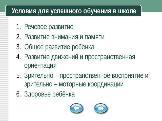 Условия для успешного обучения в школе Речевое развитие Развитие внимания и...