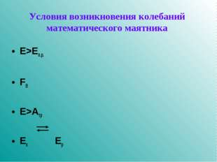 Условия возникновения колебаний математического маятника E>Eп.р. FВ E>Aтр Eк