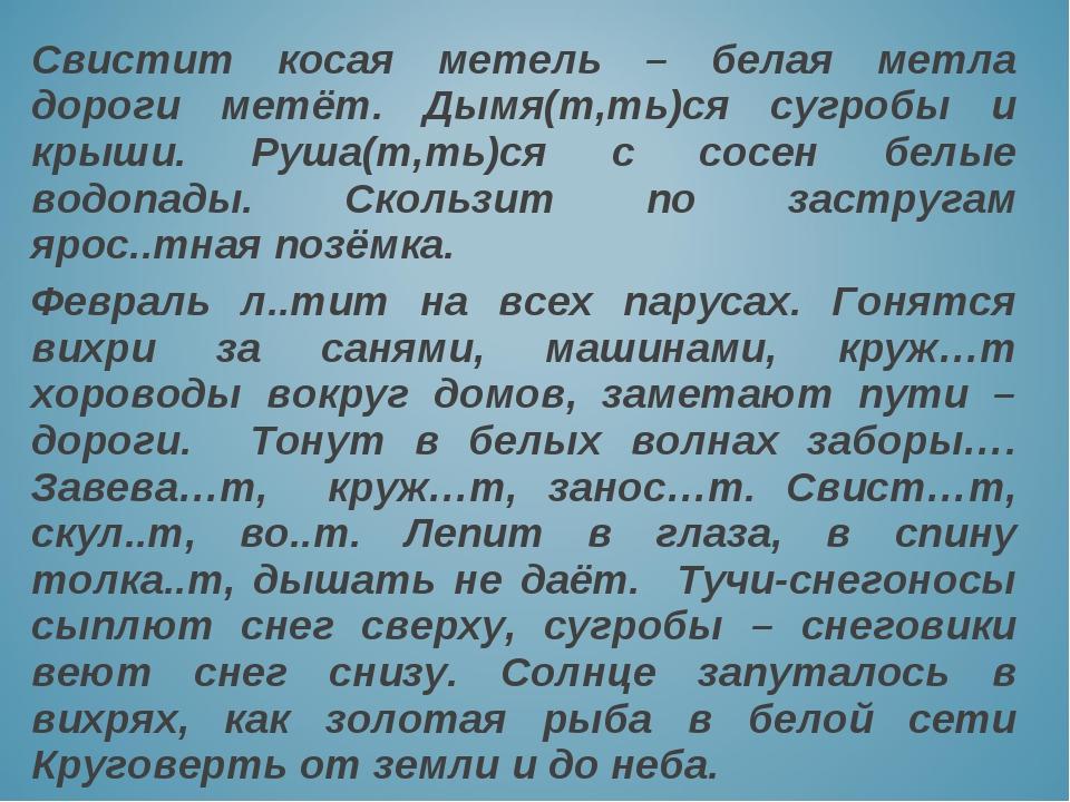 Свистит косая метель – белая метла дороги метёт. Дымя(т,ть)ся сугробы и крыши...
