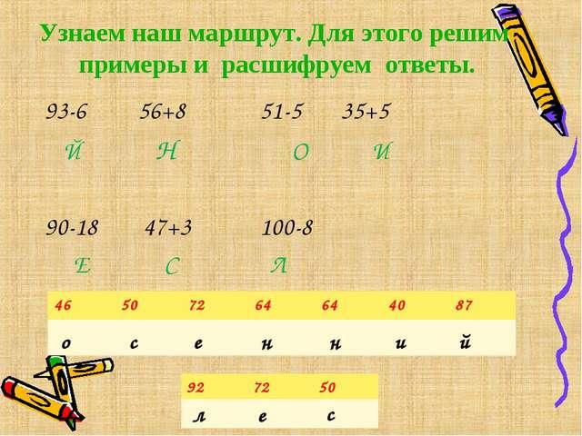 Узнаем наш маршрут. Для этого решим примеры и расшифруем ответы. 93-6 56+8 51...
