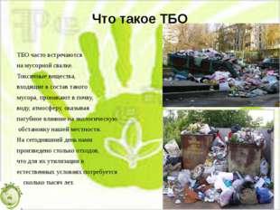 Что такое ТБО ТБО часто встречаются на мусорной свалке. Токсичные вещества, в