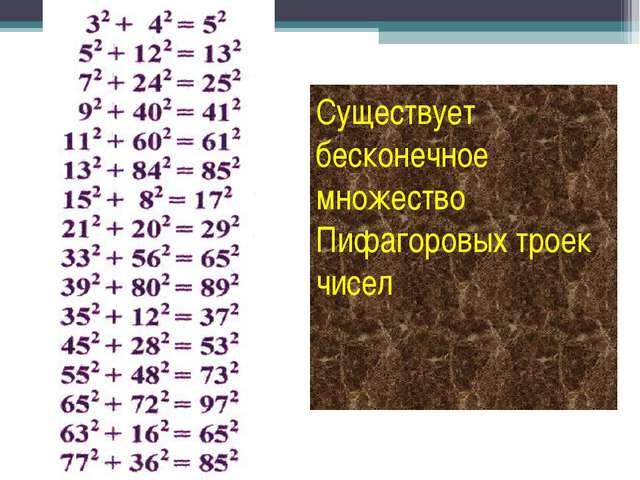 Существует бесконечное множество Пифагоровых троек чисел