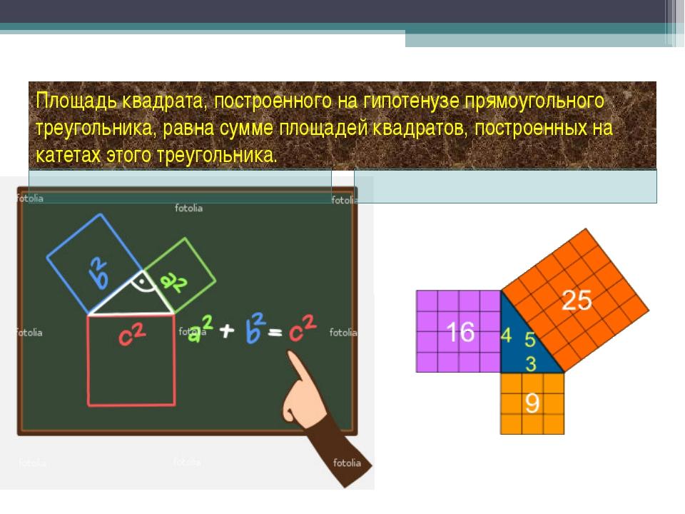 Площадь квадрата, построенного на гипотенузе прямоугольного треугольника, рав...