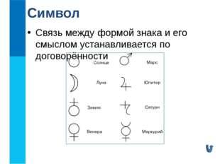 Связь между формой знака и его смыслом устанавливается по договорённости Символ