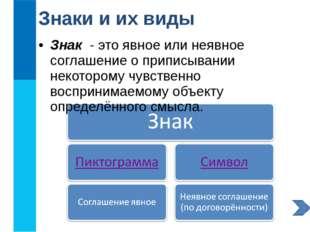 Знаки и их виды Знак - это явное или неявное соглашение о приписывании некото