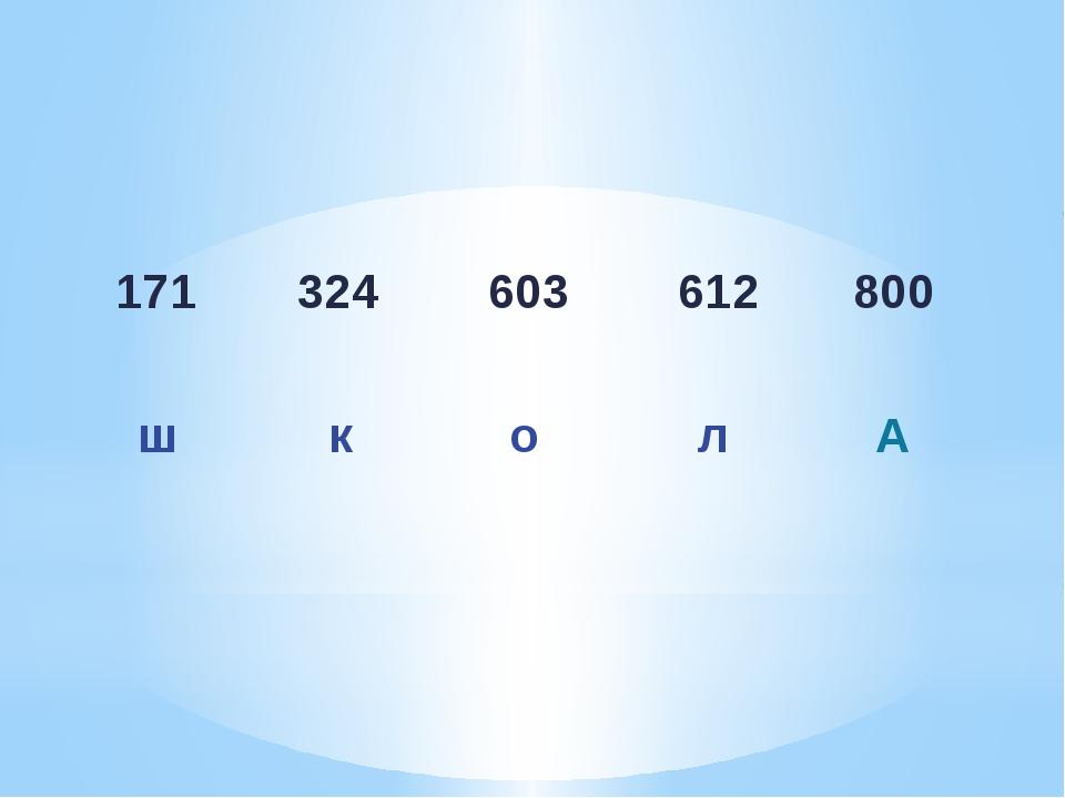 171 324 603 612 800 ш к о л А