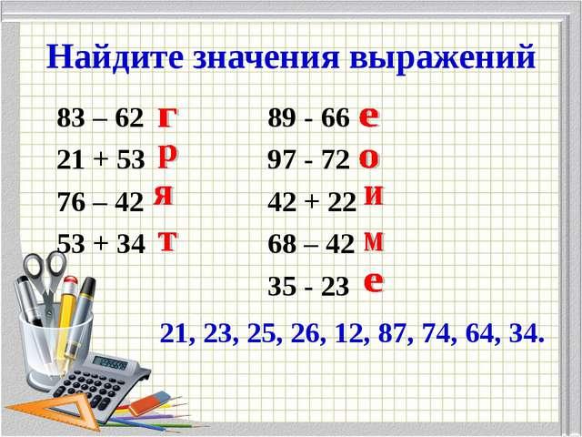 Найдите значения выражений 83 – 6289 - 66 21 + 5397 - 72 76 – 42...