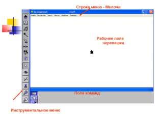 Строка меню - Мелочи Инструментальное меню Рабочее поле черепашки Поле команд