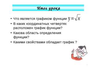 Что является графиком функции В каких координатных четвертях расположен графи