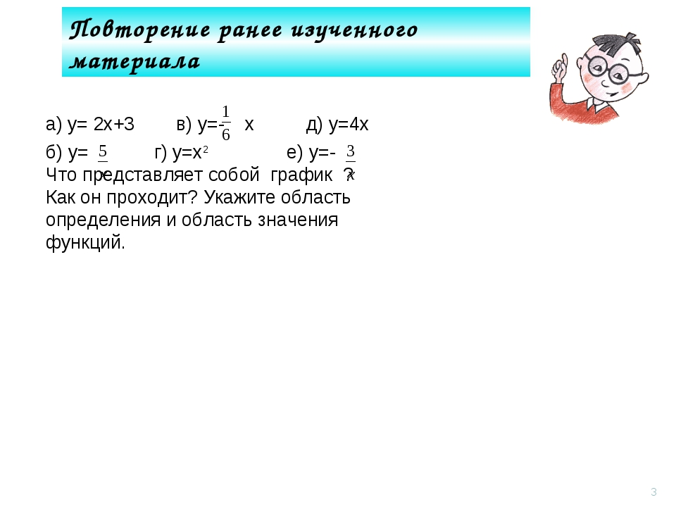 Повторение ранее изученного материала * а) у= 2х+3 в) у=- х д) у=4х б) у= г)...