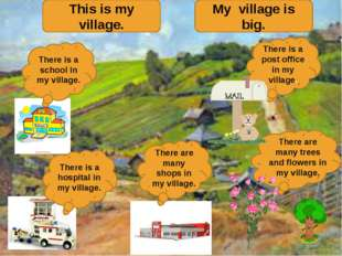 This is my village. My village is big. There is a post office in my village.