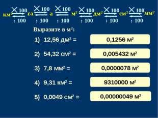 12,56 дм2 = 54,32 см2 = 7,8 мм2 = 9,31 км2 = 0,0049 см2 = 1) 3) 4) 5) 2) 0,12