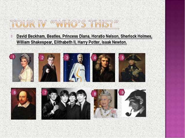 David Beckham, Beatles, Princess Diana, Horatio Nelson, Sherlock Holmes, Will...
