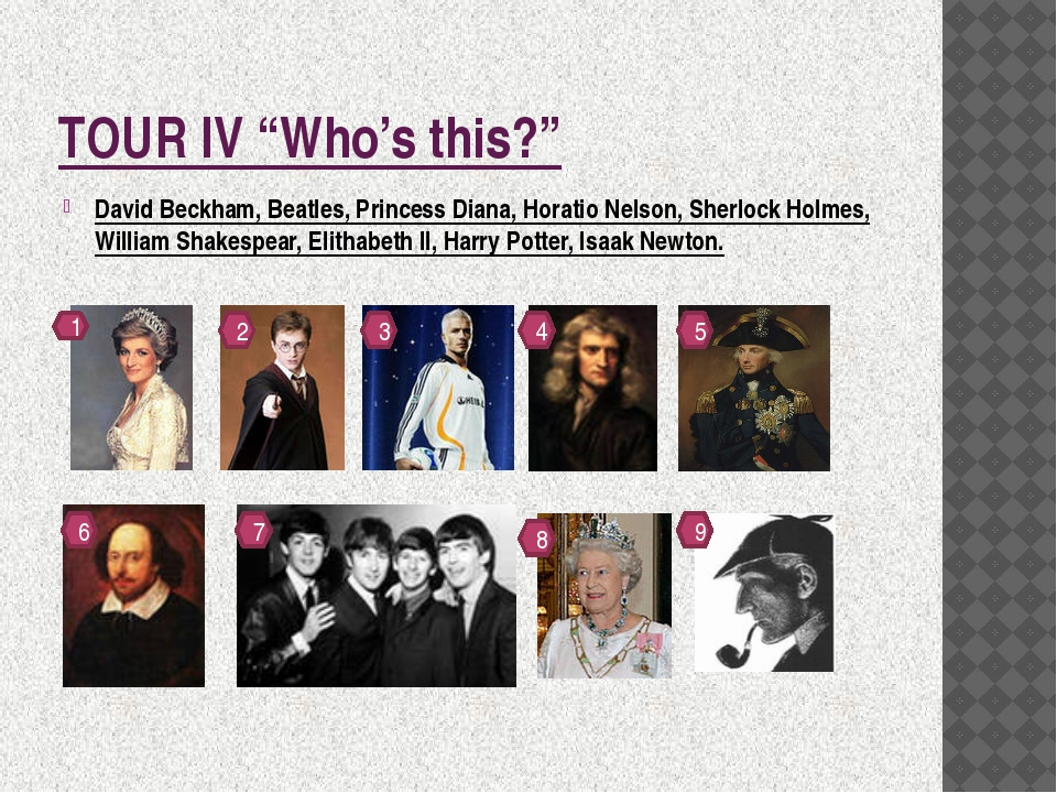"TOUR IV ""Who's this?"" David Beckham, Beatles, Princess Diana, Horatio Nelson,..."