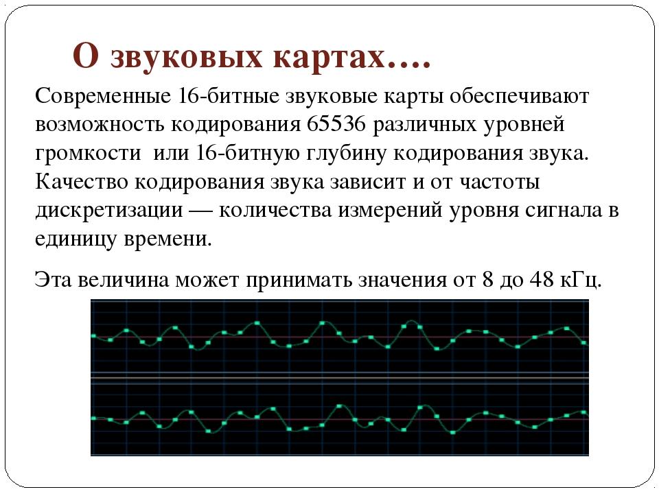 О звуковых картах…. Современные 16-битные звуковые карты обеспечивают возможн...