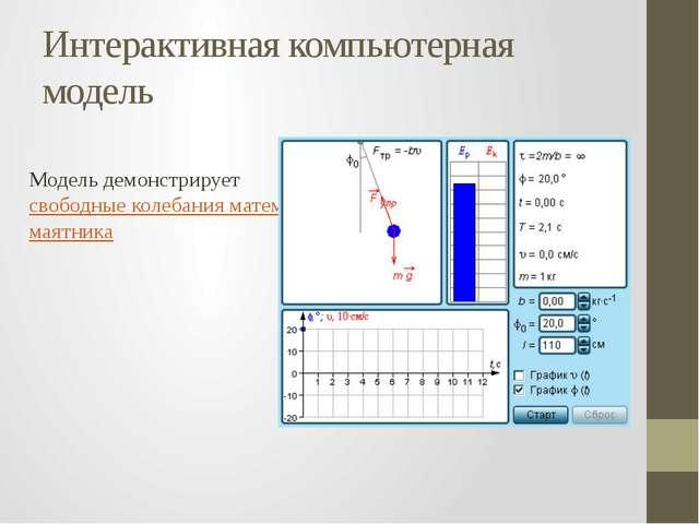 Интерактивная компьютерная модель Модель демонстрируетсвободные колебания ма...