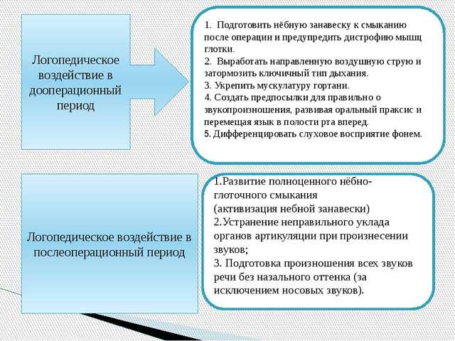 Логопедическое воздействие в дооперационный период 1. Подготовить нёбную за...