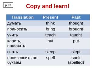 Copy and learn! p.97 Translation Present Past думать think thought приносить