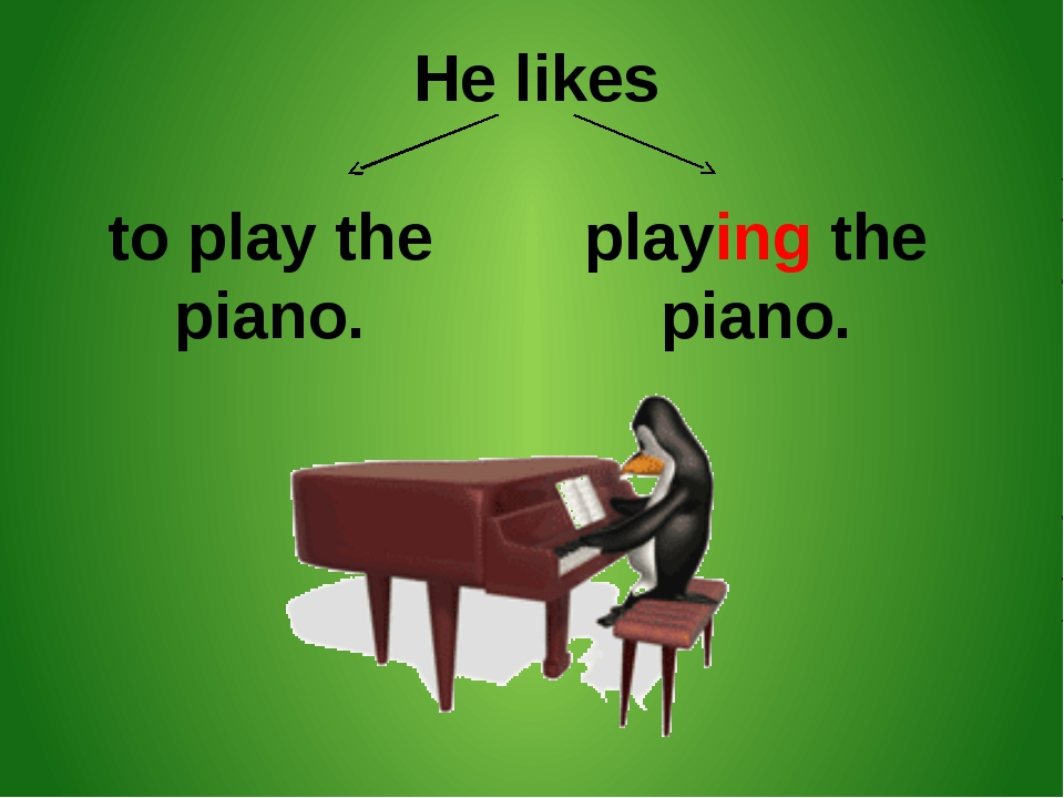 He likes to play the piano. playing the piano.