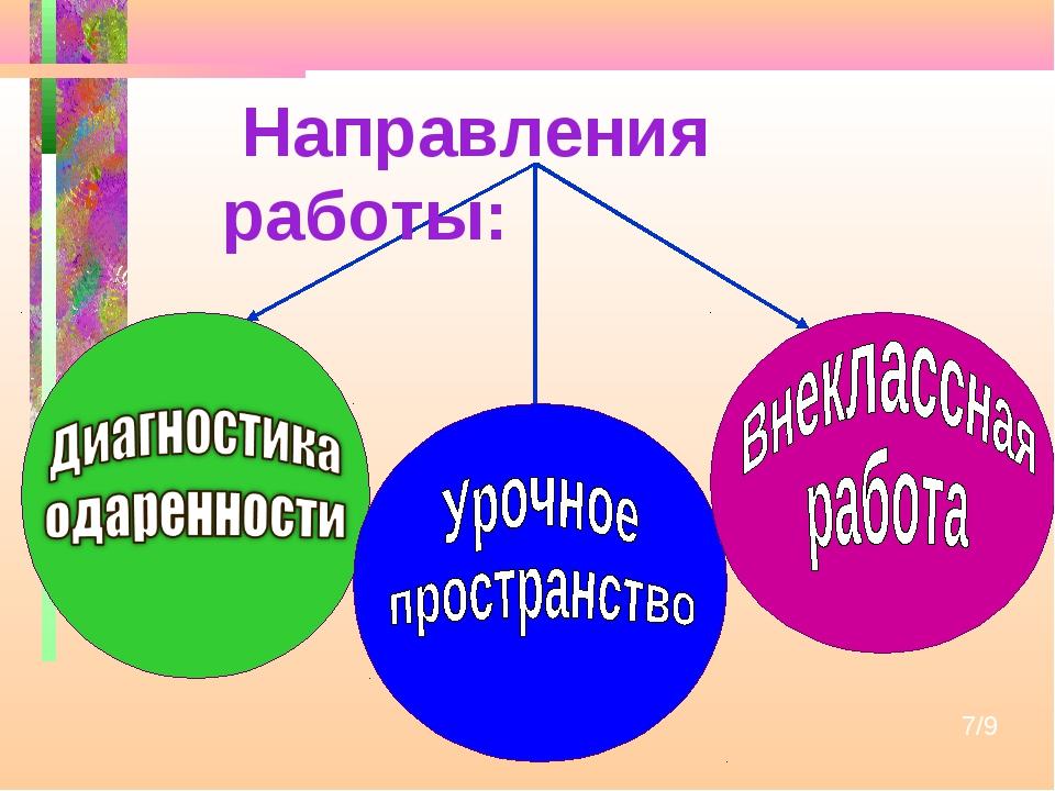 7/9 Направления работы: