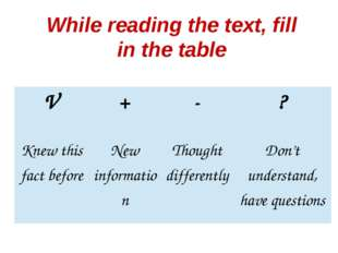 While reading the text, fill in the table V + - ? Knew this fact before New i