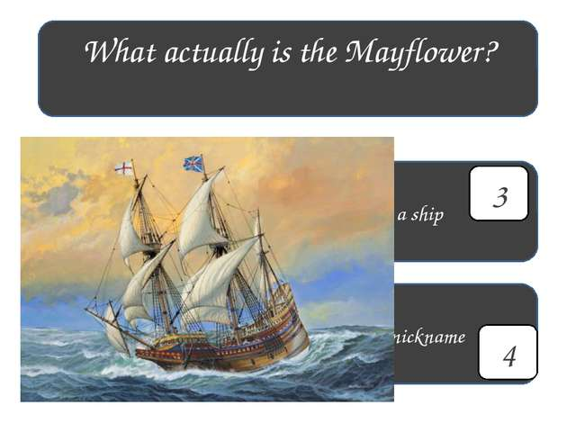 What actually is the Mayflower? a flower a ship a town a nickname 1 4 3 2