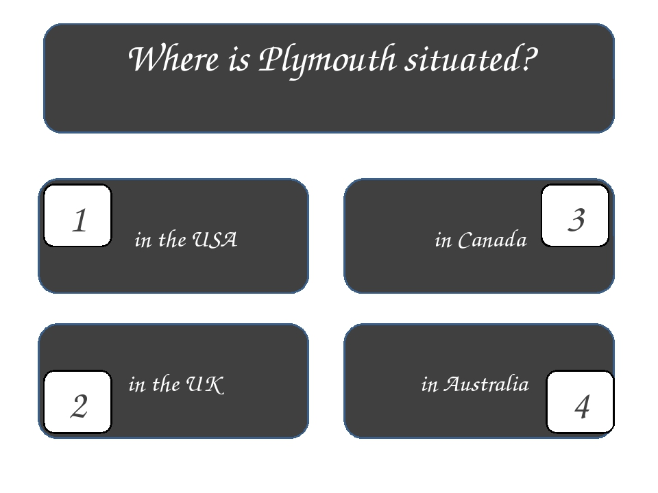 Where is Plymouth situated? in the USA in Australia in Canada in the UK 4 1 3 2