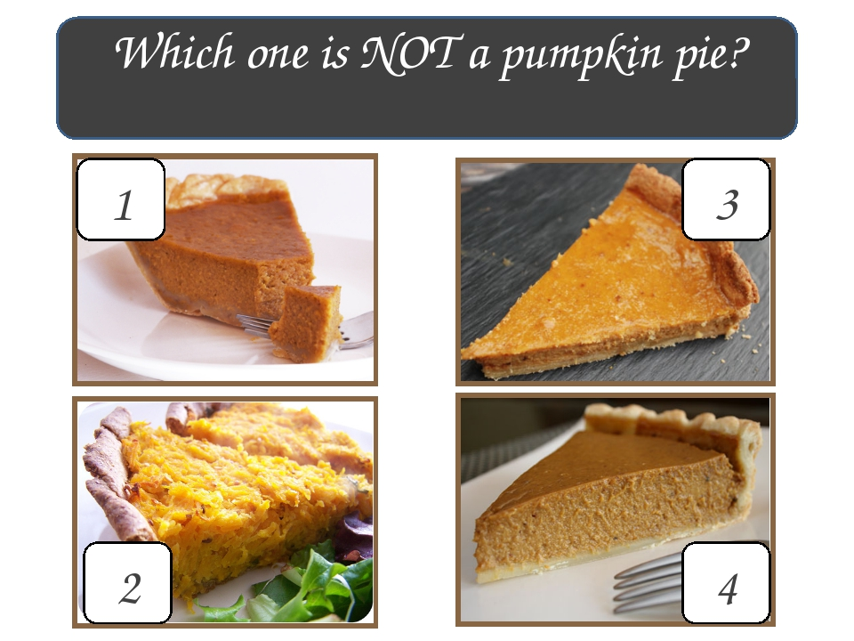 Which one is NOT a pumpkin pie? 1 4 3 2