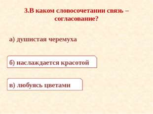 3.В каком словосочетании связь – согласование? а) душистая черемуха б) наслаж