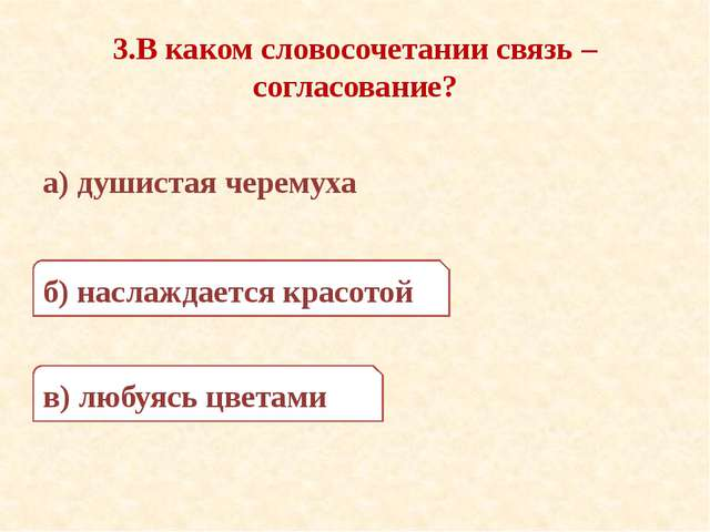 3.В каком словосочетании связь – согласование? а) душистая черемуха б) наслаж...