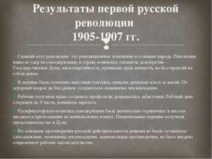 Результаты первой русской революции 1905-1907 гг. 1. Главный итог революции-