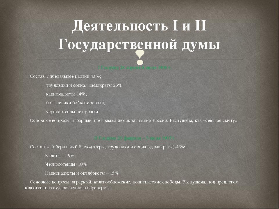 Деятельность I и II Государственной думы I Госдума 28 апреля-8 июля 1906 г. С...