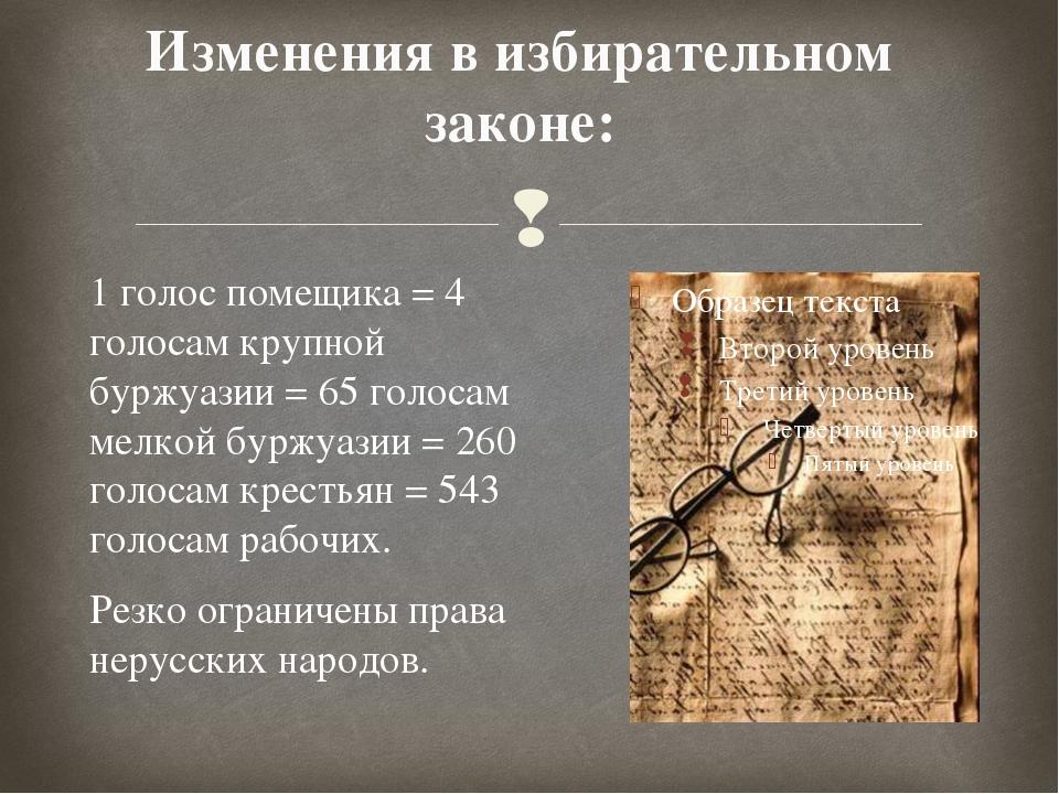 Изменения в избирательном законе: 1 голос помещика = 4 голосам крупной буржуа...