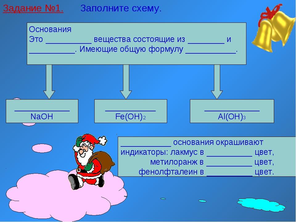 Задание №1. Заполните схему. Основания Это __________ вещества состоящие из _...