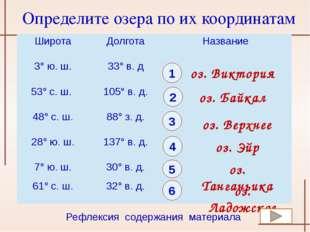 1 оз. Виктория 2 оз. Байкал 3 4 оз. Верхнее 5 оз. Эйр 6 оз. Танганьика оз. Ла