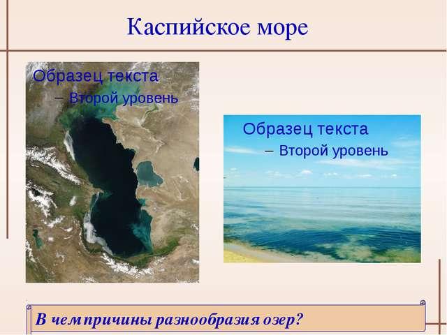 Каспийское море В чем причины разнообразия озер? http://3.bp.blogspot.com/_Ru...