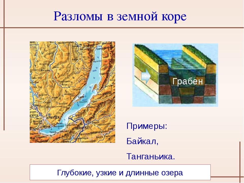 Глубокие, узкие и длинные озера ? Грабен Разломы в земной коре Примеры: Байк...