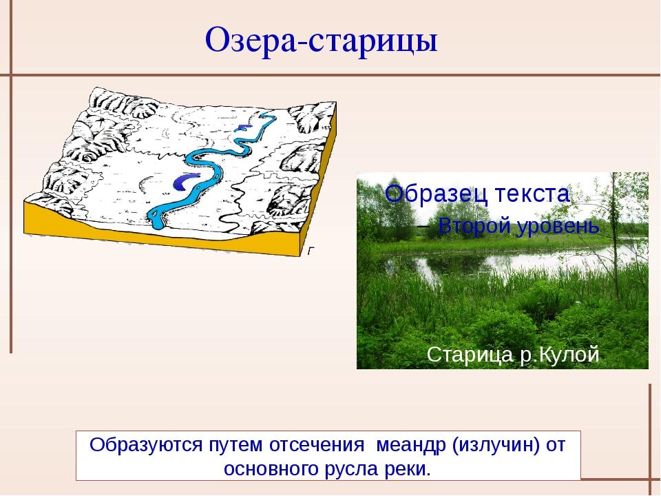 Образуются путем отсечения меандр (излучин) от основного русла реки. Озера-с...