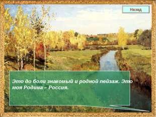 Это до боли знакомый и родной пейзаж. Это моя Родина – Россия. Назад
