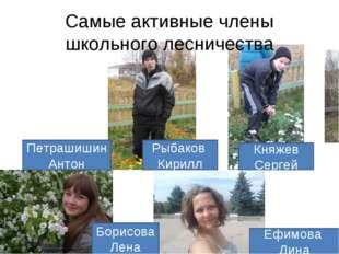 Самые активные члены школьного лесничества Петрашишин Антон Рыбаков Кирилл Кн