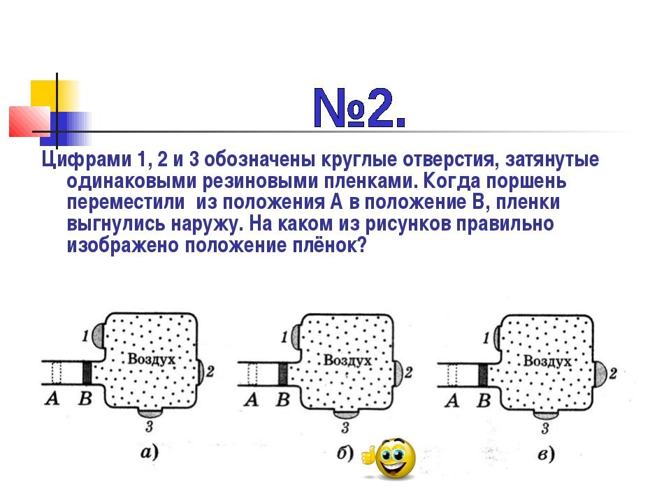 Цифрами 1, 2 и 3 обозначены круглые отверстия, затянутые одинаковыми резиновы...